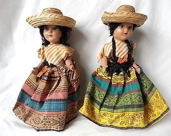 2 Vintage Composition Ethnic Mexico South America Dolls