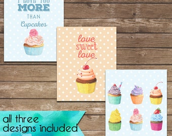 Instant download set of three I love you more cupcakes  prints size 8x10