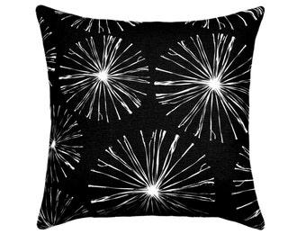 Black STUFFED Pillow, Black White Throw Pillow, Starburst Pillow, Sparks Black, Black Decorative Pillow, Black and White Pillow - Free Ship