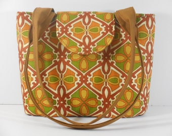 Purse Shoulder Bag Medium-Sized Flap Retro Lattice Pattern in Olive Green, Rust, Orange, Gold Double Straps Many Pockets Ready to Ship