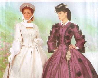 Civil War Day Dress Making History Cosplay Butterick 6694 Pattern Full Figure Plus Size 18 20 22 Bust 40 42 44 Uncut Factory Folded