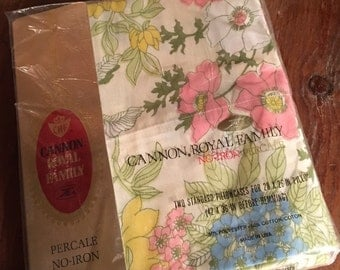 Vintage Set Pillowcase Reclaimed Bed Linens Cannon Royal Family Standard Size Fits 20 x 26 Pillows Pink Yellow White Floral