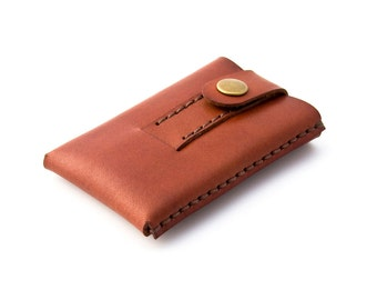 "Minimalist Leather Wallet - Cardholder -""Slide""- Hand Stitched - Hand Dyed Chestnut - FREE SHIPPING"
