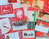 Visiting Victorian Fashion and Style in Vintage Christmas Card Lot No 617 Heavy Stock Cards Lots of Red Total of 12
