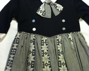 SALE- Vintage Black and White Child's Dress, Size 4 from Barneche/Stephanie Barnes