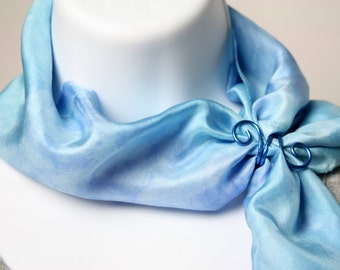 Blue Silk Scarf Slide, Scarf Ring - Royal Blue Silk Scarf Accessry, Silk Scarf Gift, Spring Scarf Slide, Summer Scarf Slide