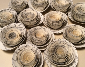 Book Page Paper Flowers, Loose Flowers, Rolled Spiral Paper Roses (12) - Wedding, Shower, Party/Table decoration
