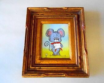 Vintage DIANE MINGOLLA Framed Art Enamel on Copper, Gray Mouse, Nursery Decor, Gray, Pink, Green