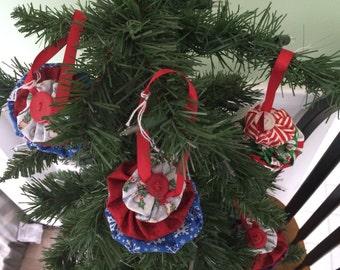 """Ornament, Christmas tree, fabric yoyo, 3.5"""""""