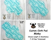 CUSTOM Reusable Cloth Menstrual Pad by MotherMoonPads ~ Made w/ Teal Archer Minky, WINDPRO  ~ Pantyliner, Day Pad, Heavy Flow, Overnight Pad