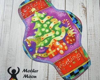 "OOAK 10"" Moderate Flow Reusable Cloth Menstrual Pad ~ Made with Seasons Greetings Tree Cotton, WINDPRO ~ by MotherMoonPads"