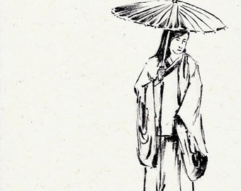original ink drawing on handmade paper of Japanese lady in kimono with an umbrella
