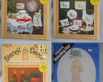 Vintage Stencil Decor Sets from the 1980s (Group of 4)