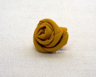 Men's lapel pin. Men lapel flower. Men's boutonniere. Rose boutonniere, Lightweight cool wool. Saffron yellow.