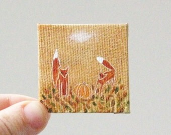 harvest time is here  / MINIATURE painting on canvas panel