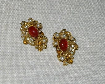 Vintage Clip On Earrings with Faux Pearls and Rhinestones