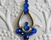 Capri Blue Swarovski Crystal Trefoil Bindi Big Antiqued Silver