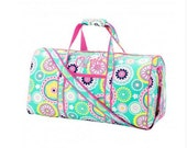 Monogrammed Duffel - Piper Print - Now Marked 1/2 Price!!
