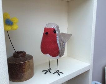 Robin, Handmade, fabric bird,  textile,  bird,  Art & Collectibles, soft sculpture