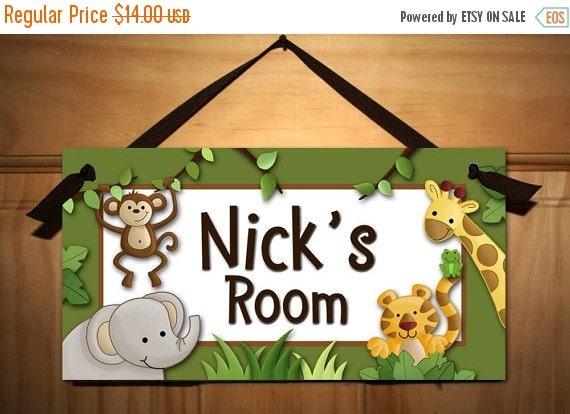 THANK YOU SALE Jungle Safari Animals in Green Babies Bedroom Nursery Kids Door Sign Wall Art Ds0251