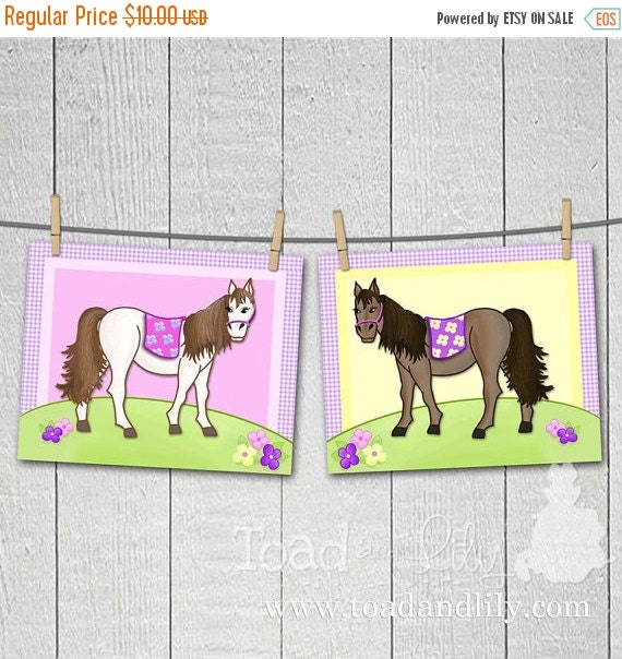 THANK YOU SALE Set of 2 Lovely in Lilac Horse Girls Bedroom 8 x 10 Art Prints