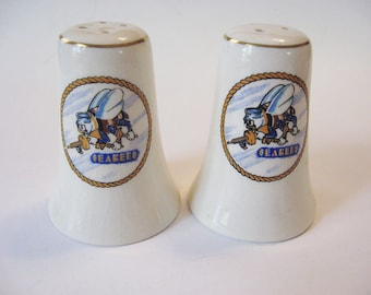 1940s US Navy Seabees Salt and Pepper Shakers Construction Battalion