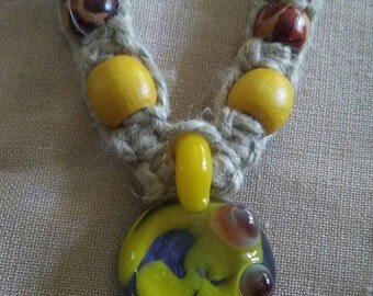 Glass pendant Hemp Necklace