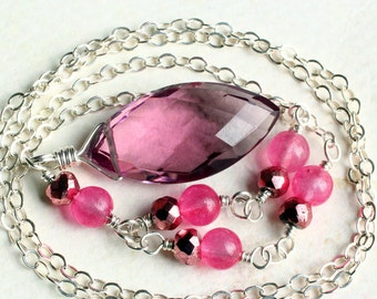 Pink Quartz Necklace on Sterling Silver - Rose by CircesHouse on Etsy