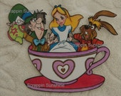 DISNEY - Mad Tea Party w/ Alice, Mad Hatter, and March Hare - Printed Scrapbook Page Paper Piece  - SSFF