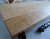 Beautiful CURLY MAPLE Reclaimed LONG Raised Cutting Board