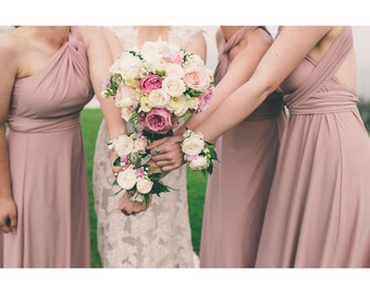 USA, RACHEL, reserved listing  Dusty Rose, maxi dress, convertible dress, bridesmaids dress, infinity dress