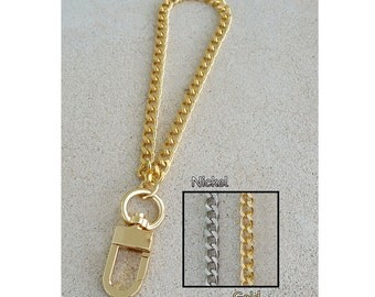 "GOLD or NICKEL Chain Wrist Strap - Mini Diamond Cut Classy Curb Chain - 1/4"" Wide - Choose Size and Attachable Hook"