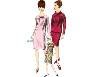 1960s Smock Dress Pattern Vogue 6594 One Piece Dress or Overblouse with Slim Skirt, Bust 34, Uncut