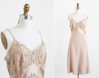 vintage 1930s slip / 30s lingerie / Hand-sewn Hearts Silk Bias Cut Slip
