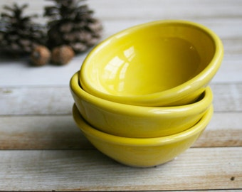 Prep Bowls Set of Three Ceramic Yellow Glazed Kitchen Prep Bowls Bright and Sunny Small Bowls Ready to Ship USA