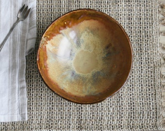 Rustic Bowl in Tenmoku Brown and Shino Glazes Rustic Handcrafted Pottery Bowl Ready to Ship Made in USA
