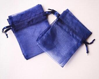 100 Organza Bags 3x4 inch, Navy Blue