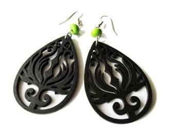 Black Wooden Phoenix and Green Stone Bead Earrings | Boho Earrings | Big Hippie Earrings | Lazer Cut | Lightweight Wood Earrings