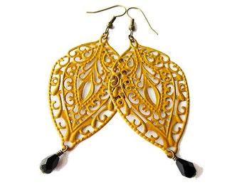 Boho Gypsy Mustard Yellow Painted Filigree Earrings