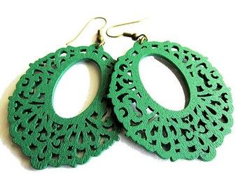 Dark Green Wooden Filigree Oval Earrings