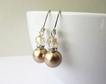Almond Swarovski Pearl and Crystal Short Drop Earrings   Bridesmaid Jewelry   Bridal Party Earrings   Classic Elegant Jewelry   Gift for Her