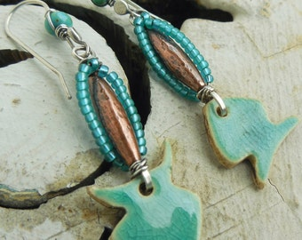 Turquoise Fish Earrings with Sterling Silver and Copper