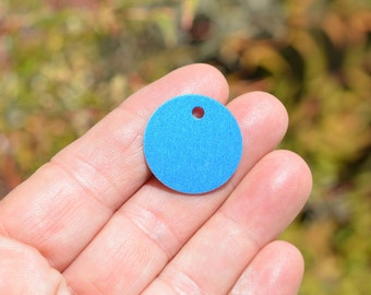 5 Blue Anodized Aluminum Blank Disc 25mm  Charms EB64
