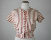 70s peach & cream striped silk cropped top blouse shirt (s - m)