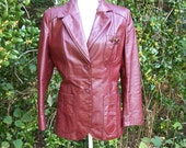 SALE 80s Burgundy Leather Jacket size Small Medium Aigner Blazer Etienne Aigner