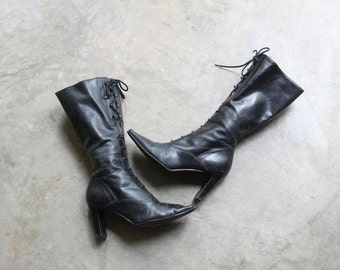 vintage TALE OF WOE black leather corset laced  boots size 6