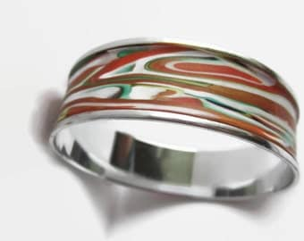 Bangle Bracelet, Light Weight Cuff Bracelet, Orange and Gold with Green and Red Accents