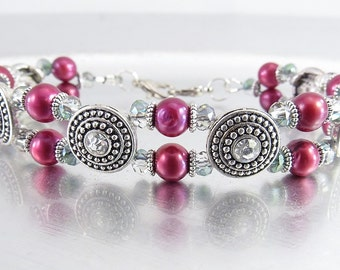 YOUR CHOICE - Garnet Pearl, Aurora Borealis Crystal Glass Medical ID Bracelet, Interchangeable Watch Band, Regular Bracelet