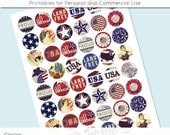 USA Patriotic 4th of July America Digital Collage Sheet Circle 30mm 25mm 20mm Download Sheets for Glass Pendants Cuff Links Round