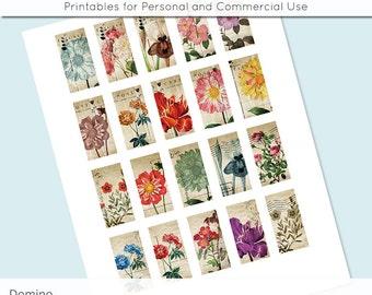 Vintage Flower Postcard 1x2 Domino Collage Sheet Digital Images for Domino Pendants Magnets Scrapbooking Journaling JPG D0058